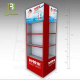 Nuevo diseño de tres llantas Expositor de suelo de cartón para los productos de limpieza
