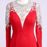 OEM/ODM Apparel Manufacturing Beading Red Evening Dress