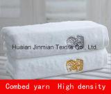 100%Cottonテリーの平野によって染められる白い高密度浴室タオル、手タオル、表面タオル
