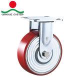 PU resistente industrial de 8 pulgadas en el echador del eslabón giratorio del arrabio con el freno