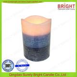 Color de la superficie rústica capas de cera de parafina velas Pilar LED Shell