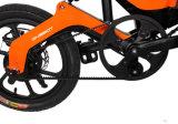 زرقاء/برتقاليّ/أسود/بيضاء كهربائيّة يطوي مدينة دراجة مع 16 بوصات إطار العجلة