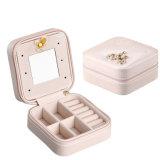 Joyero portátil de viaje de la moda de cuero pendientes de la caja de almacenamiento