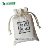Выдвиженческий белый изготовленный на заказ мешок мешка Drawstring хлопко-бумажная ткани логоса