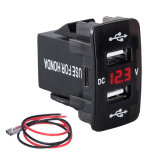 Honda를 위한 LED Digital Voltmeter Meter Monitor를 가진 DC 12-24V Dual USB Port Car Charger Cigarette Lighter Socket Power Adapter