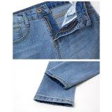 壊れた洗浄(HDLJ0044-18)の高品質の淡いブルーのジーンズ