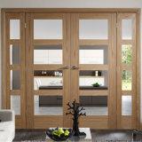 Haute qualité de l'intérieur des doubles portes en bois massif avec inserts en verre trempé