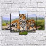 居間のための5つのパネルの現代印刷された塗るトラのキャンバスの絵画Cuadros映像の動物の景色の油絵