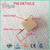 Pin natural de madera del empuje de la foto de la correspondencia de 4 colores de diversa de los diseños fuente de la fábrica para la marca