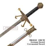 A espada cerimonial 106cm HK8242 da espada alemão da espada do cavaleiro da espada das cruzadas