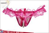 Frilly перлы шнурка массажируя ушивальники женщин G-Шнура Crotch эротичного женское бельё женщин открытые
