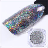 Brillos brillantes del clavo del espejo de Holo del arco iris de plata del pigmento del laser del polvo del espejo