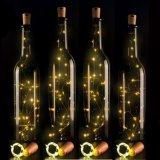 A corda do diodo emissor de luz do fio de cobre de DIY ilumina luzes da cortiça dos frascos de vinho