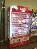 En posición vertical de almacenamiento abierto de la pantalla del enfriador de bebidas de enfriadores con luz LED y bloquear