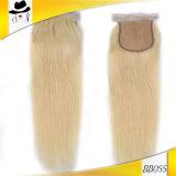 Remy 613 пачки Weave белокурых волос с закрытием шнурка