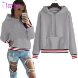 Womens Manchon long pull Hoodie Sweat-shirt à rayures Pocket enduire