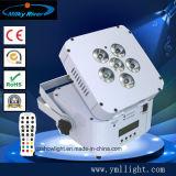 결혼식 단계 클럽 바 6PCS RGBWA UV 6in1 LED 건전지 Uplighting 원격 제어 무선 건전지 LED 편평한 동위 빛