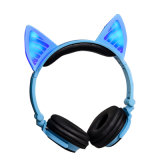 Cute Animal de alta calidad Cartton intermitente de la parte superior la oreja los auriculares inalámbricos Bluetooth cat.