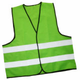 Het hoge Vest van de Veiligheid van het Zicht Fluorescente Weerspiegelende met Fluorescente Strook