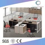 Stazione di lavoro di legno di disegno classico delle 4 sedi con il divisore in vetro (CAS-W1885)