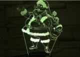 lampada di natale 3D, indicatore luminoso di notte di illusione ottica per la scuola materna/decorazione/salone, 7 colori che cambiano i giocattoli ed i regali di natale (il Babbo Natale)