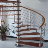 Diseño de escalera en espiral de cristal templado