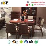 Mobília luxuosa antiga da sala de jantar da tabela de jantar da madeira contínua (HCD03)