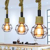 E27 corde de chanvre Antique American Style Designer luminaires suspendus pour la salle à manger, hall