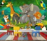 Grand papier peint animal mignon d'impression de safari de jungle de qualité de décoration faite sur commande de maison
