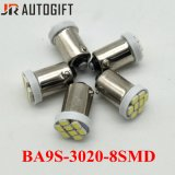 Bulbos do diodo emissor de luz do interior 8LEDs de Ba9s 1206/3020 auto
