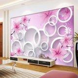 Wasserdichte selbstklebende Lovey elegante Blumenvinylwandbild-Tapete für Wohnzimmer