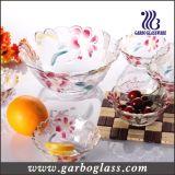 7PCS färbte Glassalat-Filterglocke-Set mit Lilien-Blumen-Entwurf