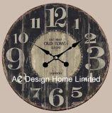 Décoration Vintage Antique Old Time classique de la conception de l'autocollant de papier d'impression en bois MDF de l'horloge murale
