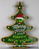 금속과 플라스틱 프레임 벽 장식 크리스마스 나무 W/LED 빛
