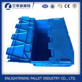 Novo estilo de caixa de plástico empilháveis com tampa Attahched