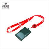 Acollador de encargo de lujo azul de la venta caliente con el poseedor de una tarjeta de identificación plástico