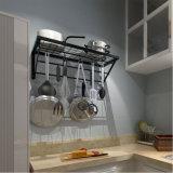 台所棚、台所ラックおよび鍋ラック、炊事道具の棚、10個のS形のホックと、黒
