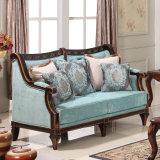 Antikes Gewebe-Sofa-klassische amerikanische Couch Loveseat mit hölzerner geschnitzter Ordnung