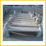花こう岩の石造りの庭の装飾によって切り分けられる動物のベンチ