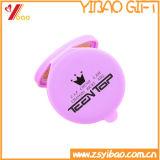 Espejo de encargo del bolsillo del recuerdo del caucho de silicón de la promoción de la venta al por mayor de la insignia