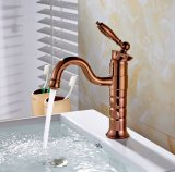 Flg Rose Golden Bathroom Basin Faucet Single Handle