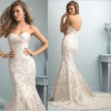Vestido de casamento plissado Appliqued laço da trombeta do Fishtail da sereia do querido do vintage