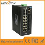 4 red Industrial Ethernet Gigabit Combo switch con 4 Fibra