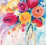 Pittura a olio Handmade del fiore abbastanza variopinto decorativo su tela di canapa