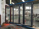 Puerta de cristal Bifold de la venta de la fábrica/plegable de aluminio con el vidrio Inferior-e