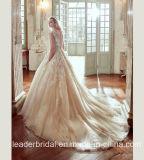 2017년 Champagne 신부 드레스 Tulle 레이스 결혼 예복 R201708