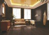 Azulejo de madera rústico vitrificado porcelana esmaltado de cerámica del suelo y de la pared del cemento concreto de la carrocería negra (BT6003BA)