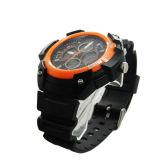 ABS umkleiden Gummiband-Schweizer Bewegungs-wasserdichte orange Dekor-Uhren