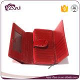 Het rode Blad In reliëf gemaakte Echte Leer van de Portefeuille van Vrouwen