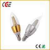 Bulbo futuro de la vela de la luz de la vela del LED con la cubierta de aluminio del oro